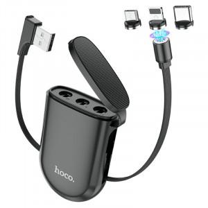 Дата кабель Hoco S50 Magnetic 3in1 Lightning - Micro USB - Type-C (1m) black
