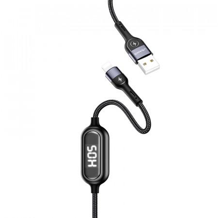 Дата кабель Usams US-SJ423 U48 Digital Display USB to Lightning (1.2m) black